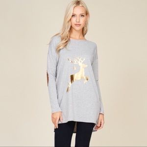Tops - Gold Reindeer Suede Elbow Patch Tee